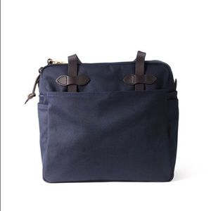 Filson Navy Blue Rugged Twill Tote Bag with Zipper